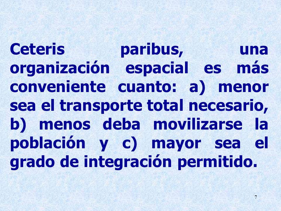 Ceteris paribus, una organización espacial es más conveniente cuanto: a) menor sea el transporte total necesario, b) menos deba movilizarse la población y c) mayor sea el grado de integración permitido.