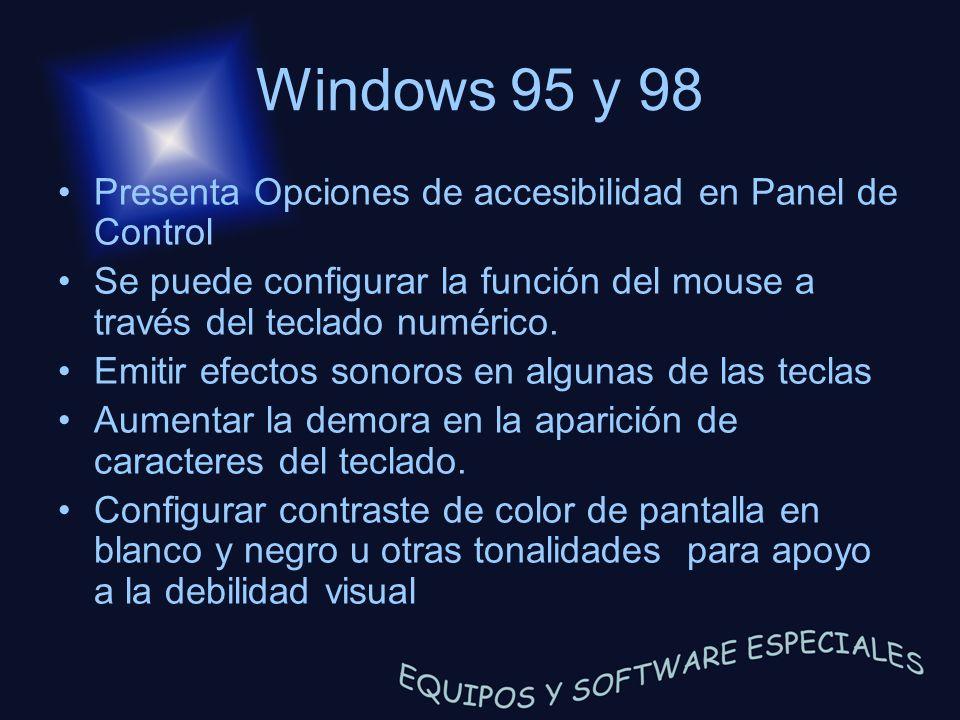 Windows 95 y 98 Presenta Opciones de accesibilidad en Panel de Control