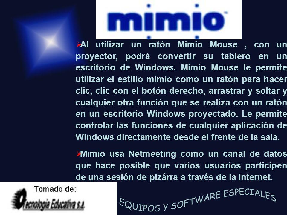 Al utilizar un ratón Mimio Mouse , con un proyector, podrá convertir su tablero en un escritorio de Windows. Mimio Mouse le permite utilizar el estilio mimio como un ratón para hacer clic, clic con el botón derecho, arrastrar y soltar y cualquier otra función que se realiza con un ratón en un escritorio Windows proyectado. Le permite controlar las funciones de cualquier aplicación de Windows directamente desde el frente de la sala.