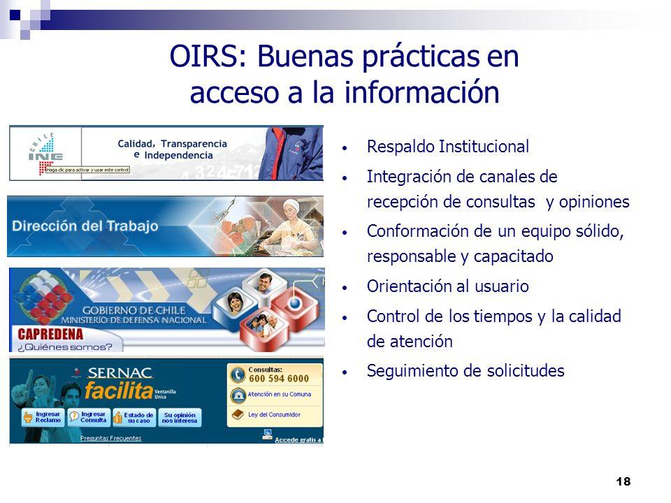 OIRS: Buenas prácticas en acceso a la información