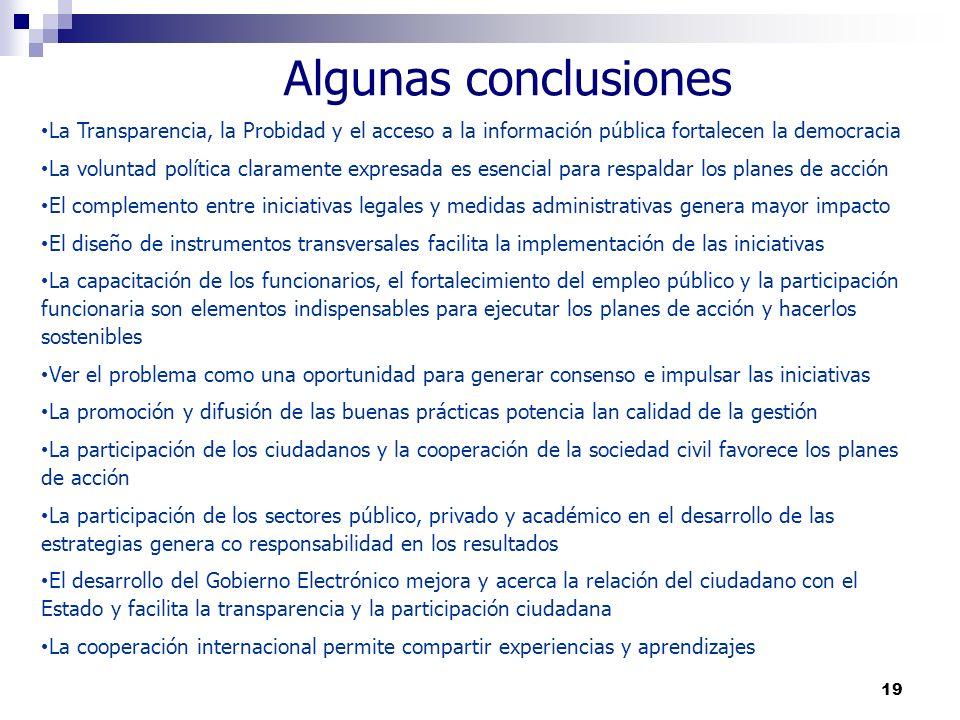 Algunas conclusiones La Transparencia, la Probidad y el acceso a la información pública fortalecen la democracia.