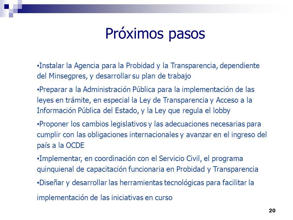 Próximos pasos Instalar la Agencia para la Probidad y la Transparencia, dependiente del Minsegpres, y desarrollar su plan de trabajo.