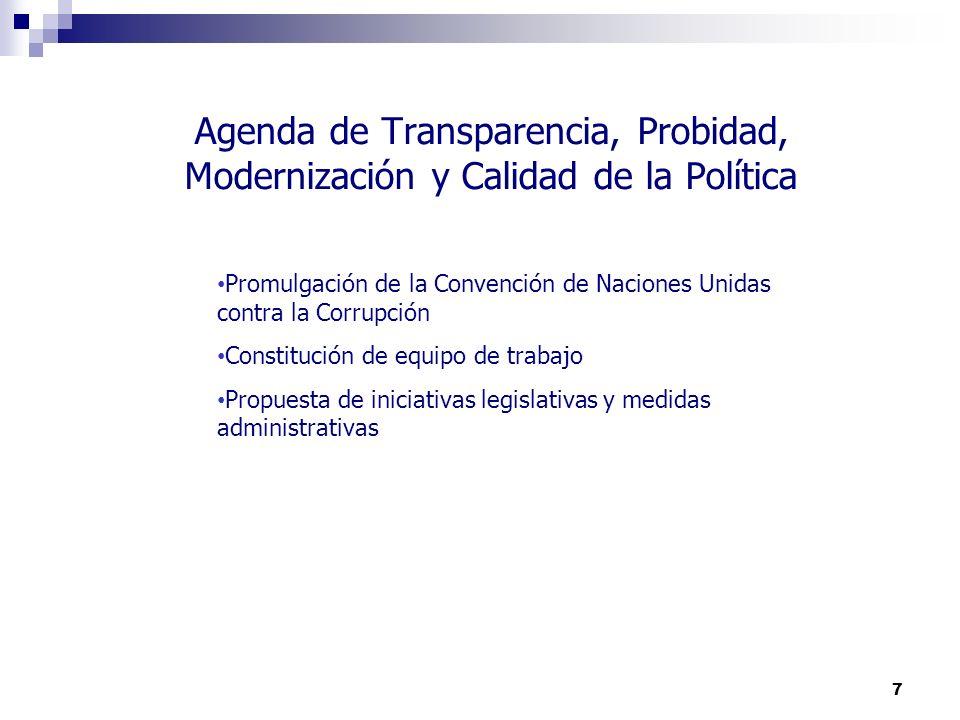 Agenda de Transparencia, Probidad, Modernización y Calidad de la Política