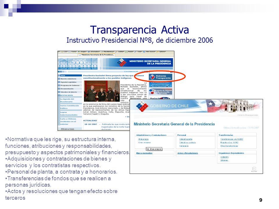 Transparencia Activa Instructivo Presidencial Nº8, de diciembre 2006