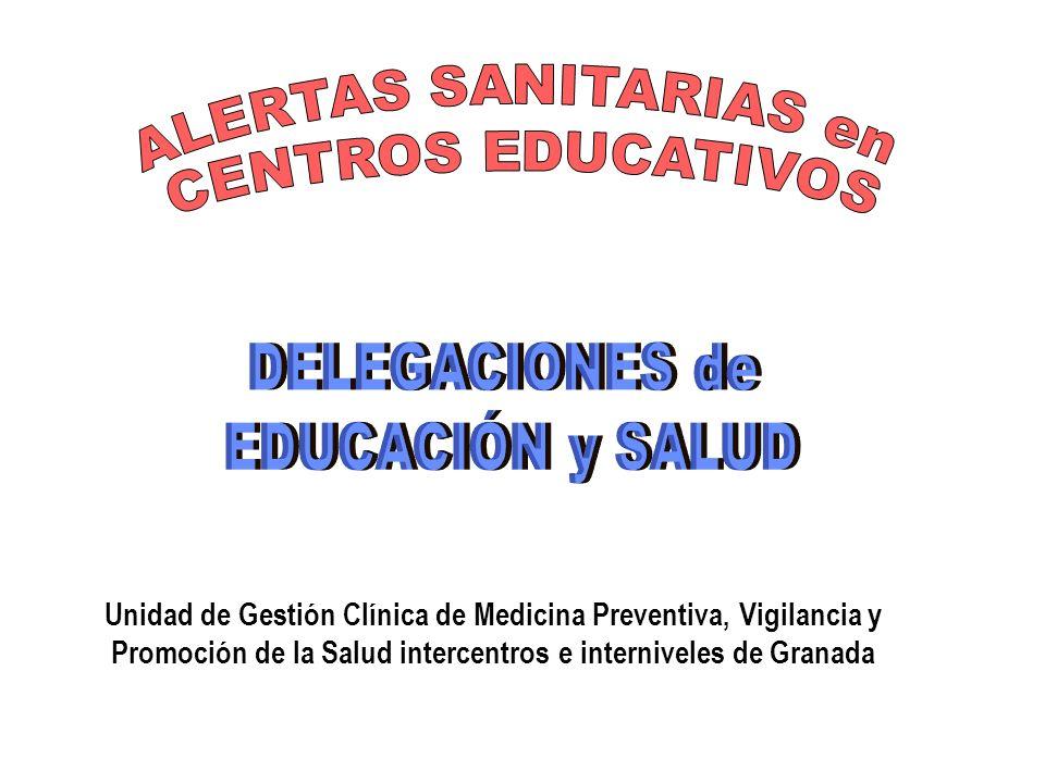 ALERTAS SANITARIAS en CENTROS EDUCATIVOS DELEGACIONES de