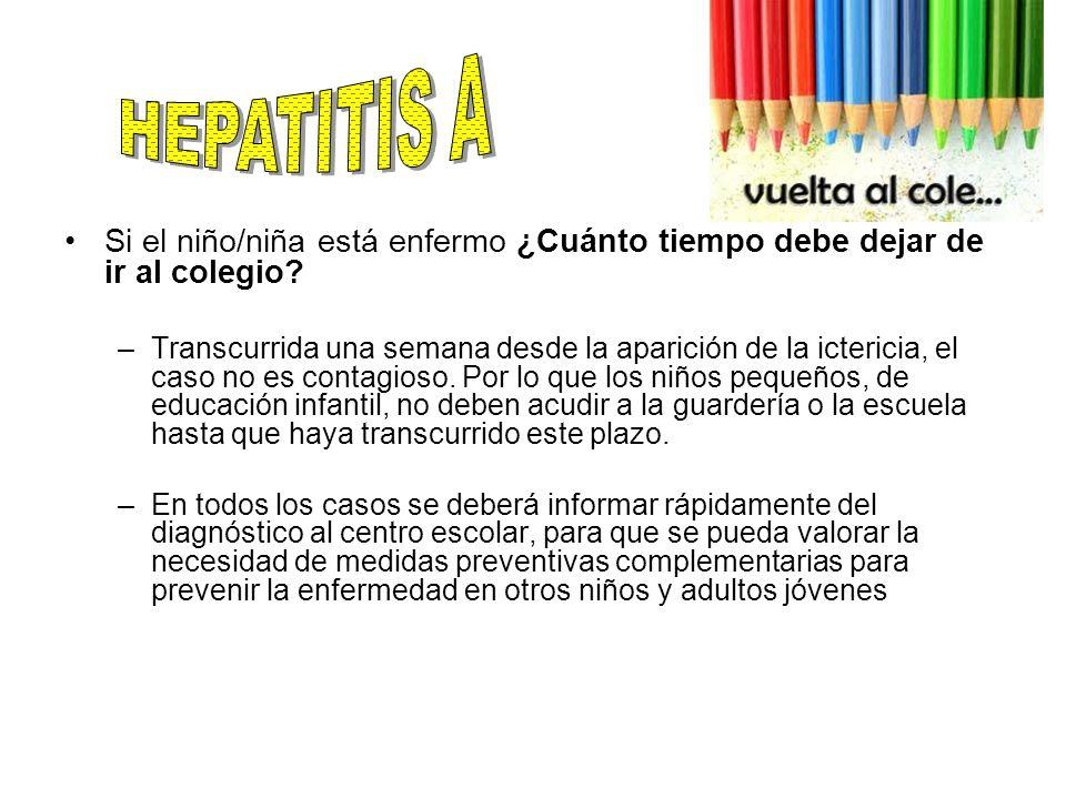 HEPATITIS A Si el niño/niña está enfermo ¿Cuánto tiempo debe dejar de ir al colegio