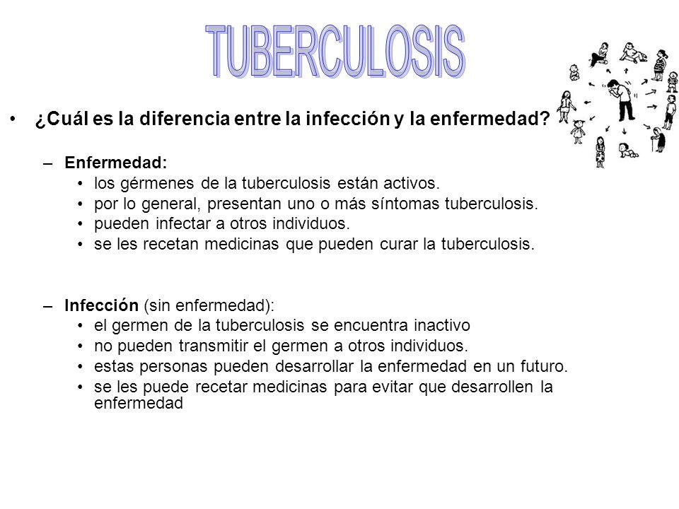 TUBERCULOSIS ¿Cuál es la diferencia entre la infección y la enfermedad Enfermedad: los gérmenes de la tuberculosis están activos.