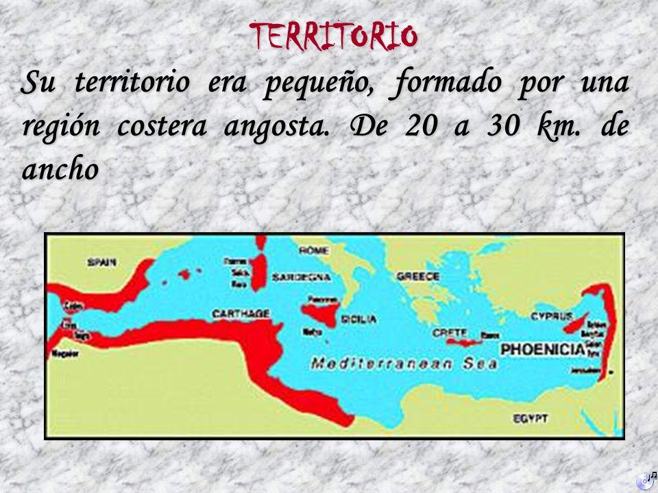 TERRITORIO Su territorio era pequeño, formado por una región costera angosta.