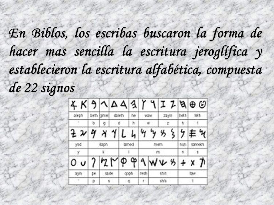 En Biblos, los escribas buscaron la forma de hacer mas sencilla la escritura jeroglífica y establecieron la escritura alfabética, compuesta de 22 signos