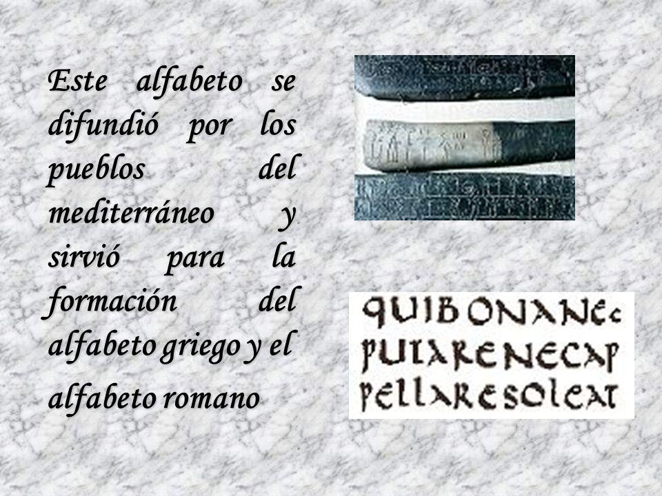 Este alfabeto se difundió por los pueblos del mediterráneo y sirvió para la formación del alfabeto griego y el