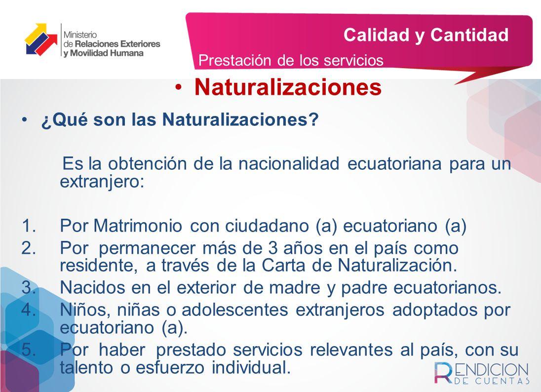 Naturalizaciones Calidad y Cantidad ¿Qué son las Naturalizaciones