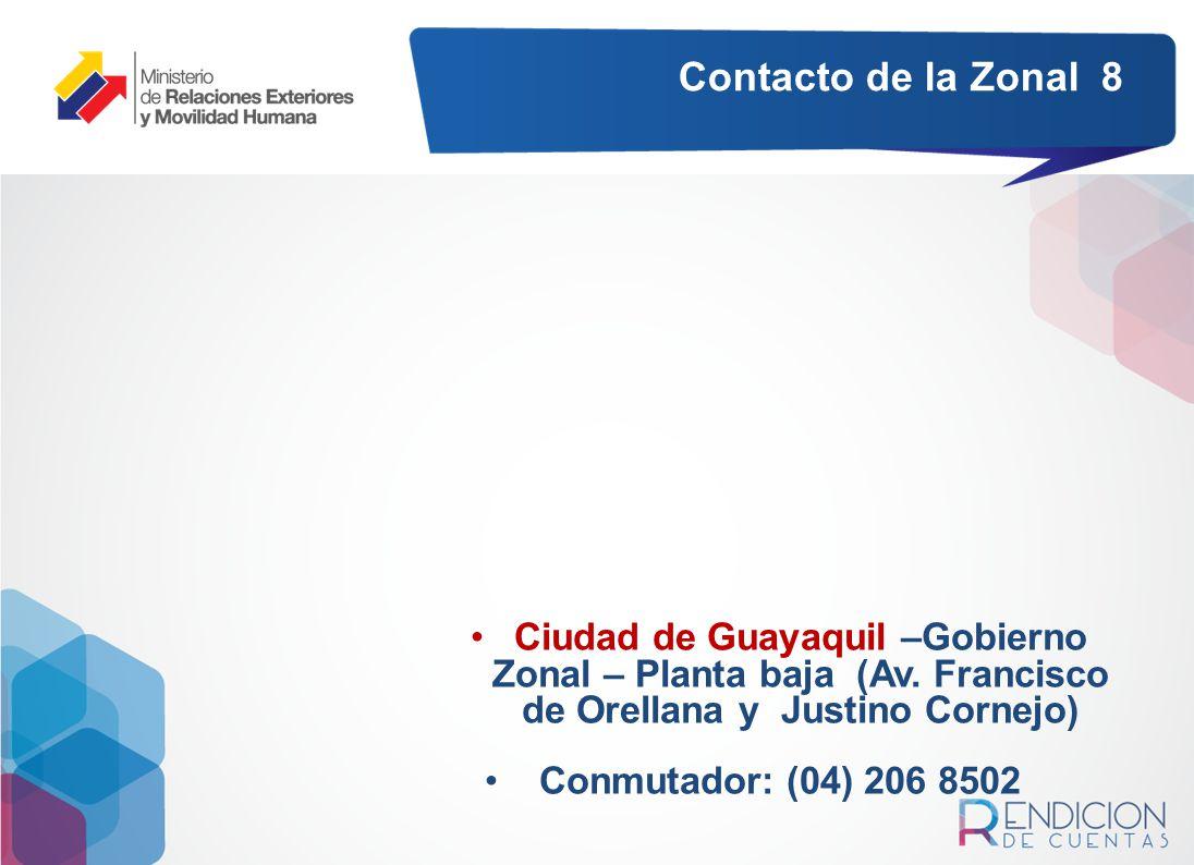 Contacto de la Zonal 8 Ciudad de Guayaquil –Gobierno Zonal – Planta baja (Av. Francisco de Orellana y Justino Cornejo)