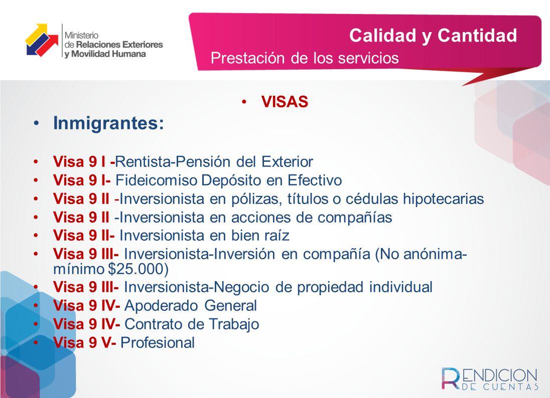 Calidad y Cantidad Inmigrantes: Prestación de los servicios VISAS