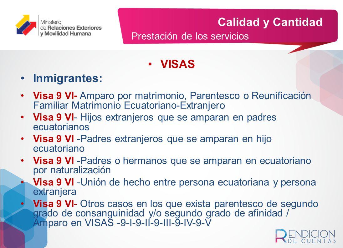 Calidad y Cantidad VISAS Inmigrantes: Prestación de los servicios