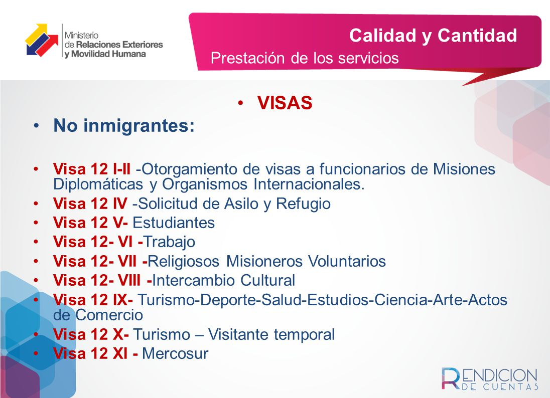 Calidad y Cantidad VISAS No inmigrantes: Prestación de los servicios