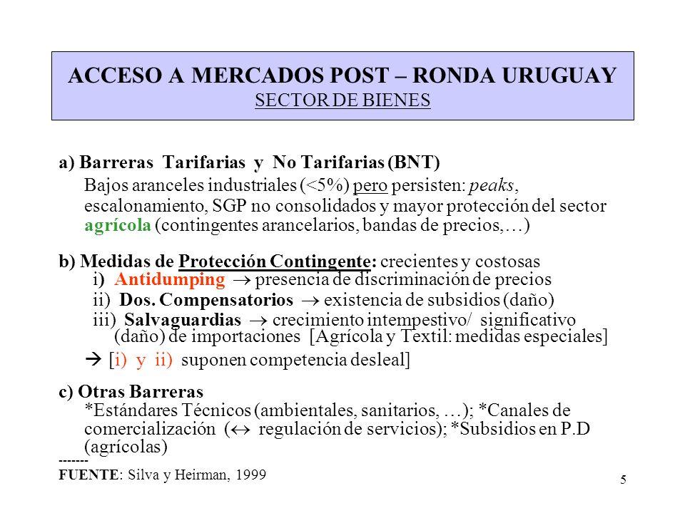 ACCESO A MERCADOS POST – RONDA URUGUAY SECTOR DE BIENES
