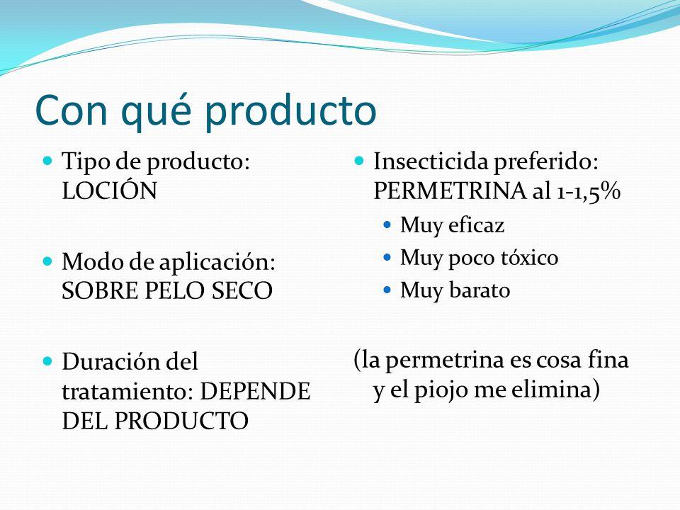 Con qué producto Tipo de producto: LOCIÓN