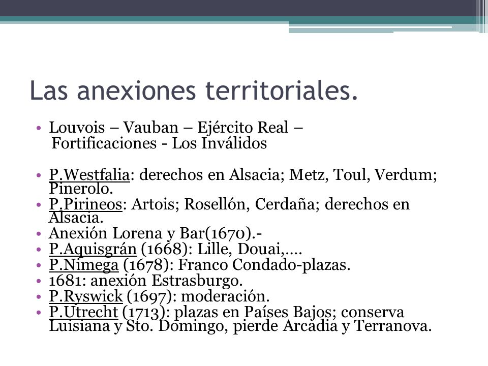 Las anexiones territoriales.