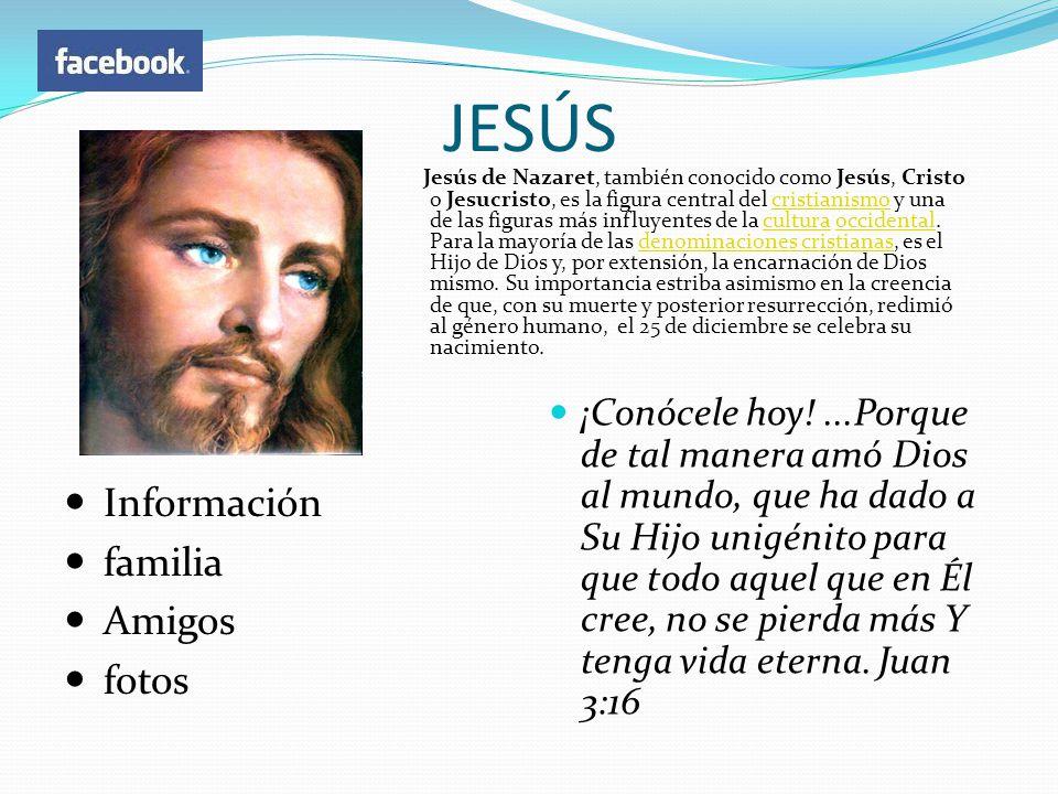 JESÚS Información familia Amigos fotos