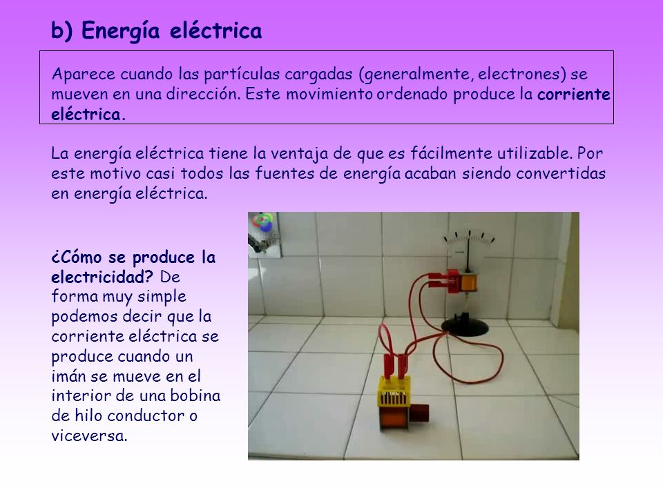 b) Energía eléctrica