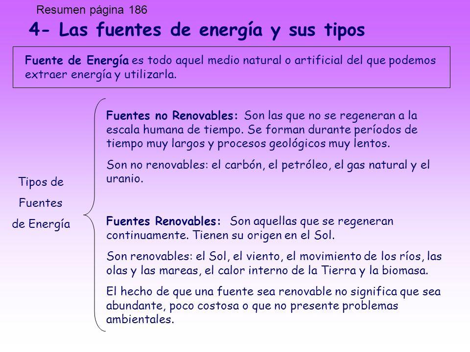 4- Las fuentes de energía y sus tipos