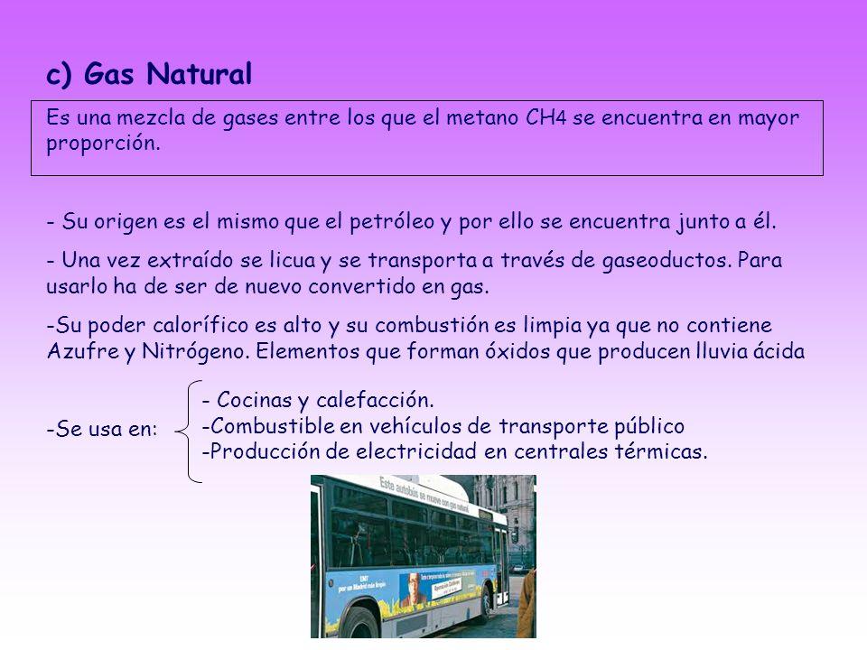 c) Gas NaturalEs una mezcla de gases entre los que el metano CH4 se encuentra en mayor proporción.