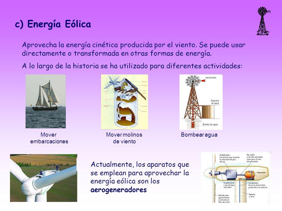c) Energía Eólica Aprovecha la energía cinética producida por el viento. Se puede usar directamente o transformada en otras formas de energía.