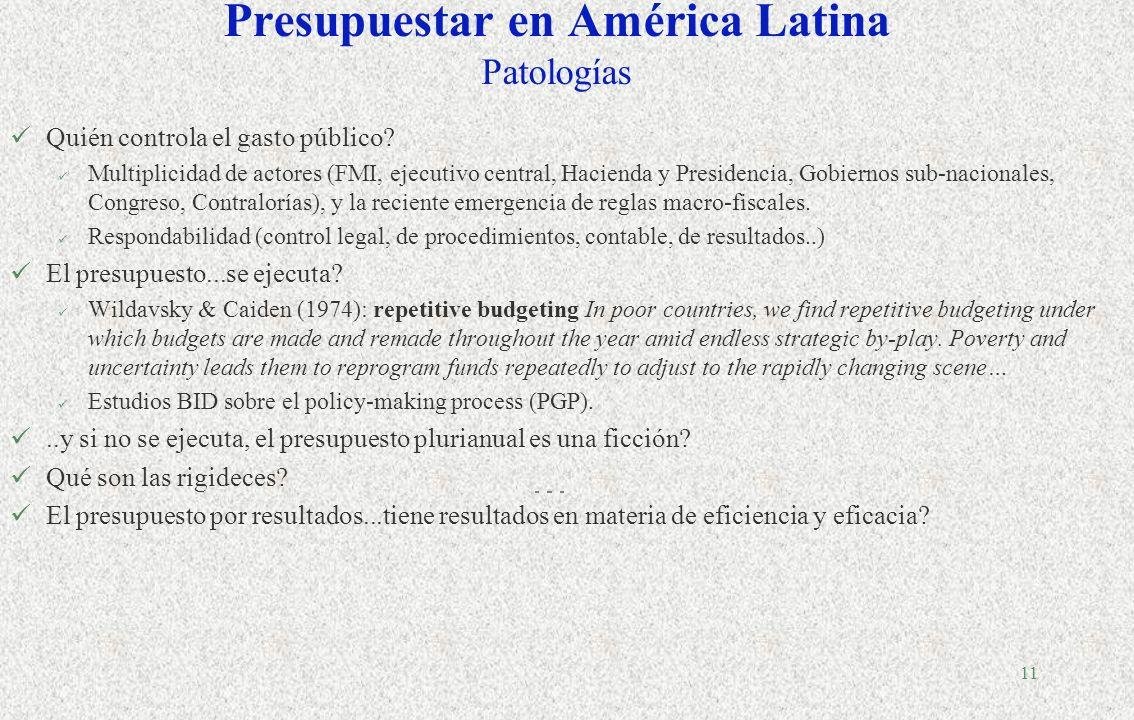Presupuestar en América Latina Patologías