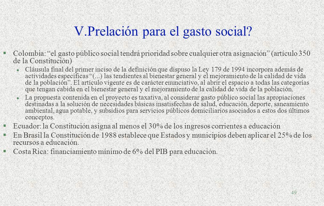 V.Prelación para el gasto social
