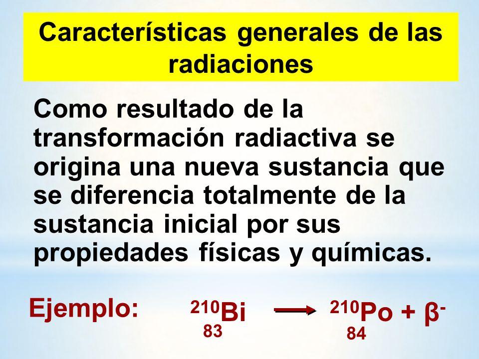 Características generales de las radiaciones