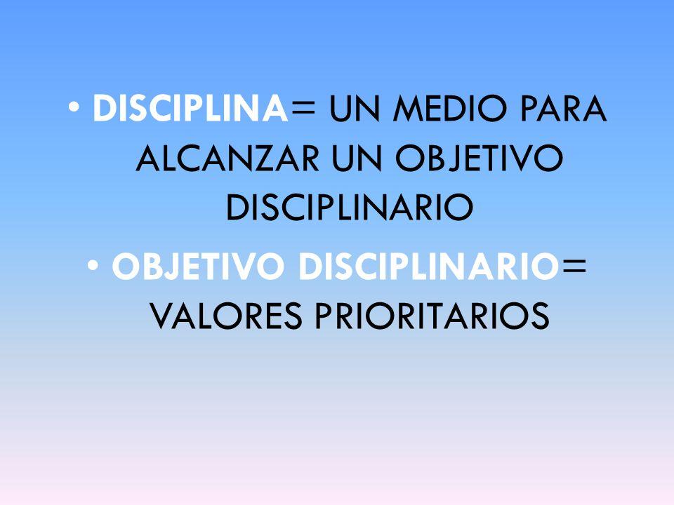 DISCIPLINA= UN MEDIO PARA ALCANZAR UN OBJETIVO DISCIPLINARIO
