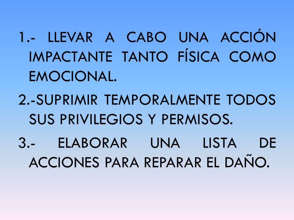 1.- LLEVAR A CABO UNA ACCIÓN IMPACTANTE TANTO FÍSICA COMO EMOCIONAL.