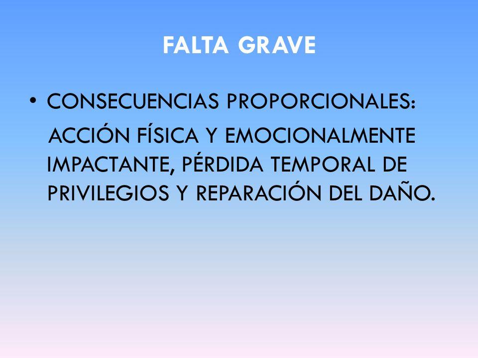 FALTA GRAVE CONSECUENCIAS PROPORCIONALES: