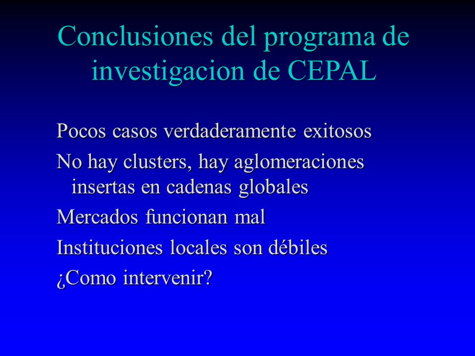 Conclusiones del programa de investigacion de CEPAL