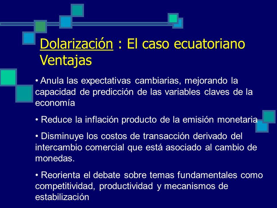 Dolarización : El caso ecuatoriano Ventajas