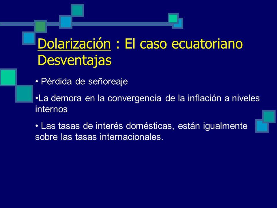 Dolarización : El caso ecuatoriano Desventajas
