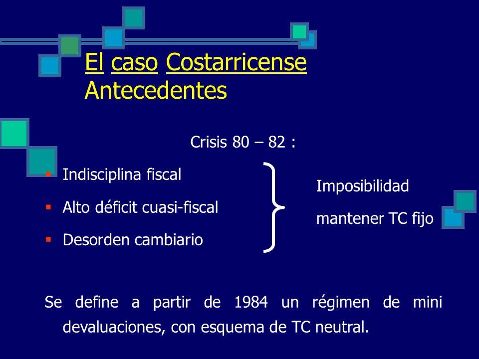 El caso Costarricense Antecedentes Crisis 80 – 82 :