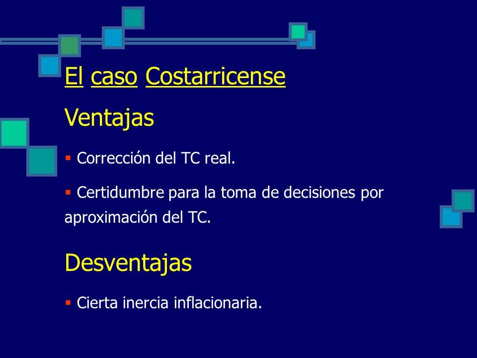El caso Costarricense Ventajas Desventajas Corrección del TC real.