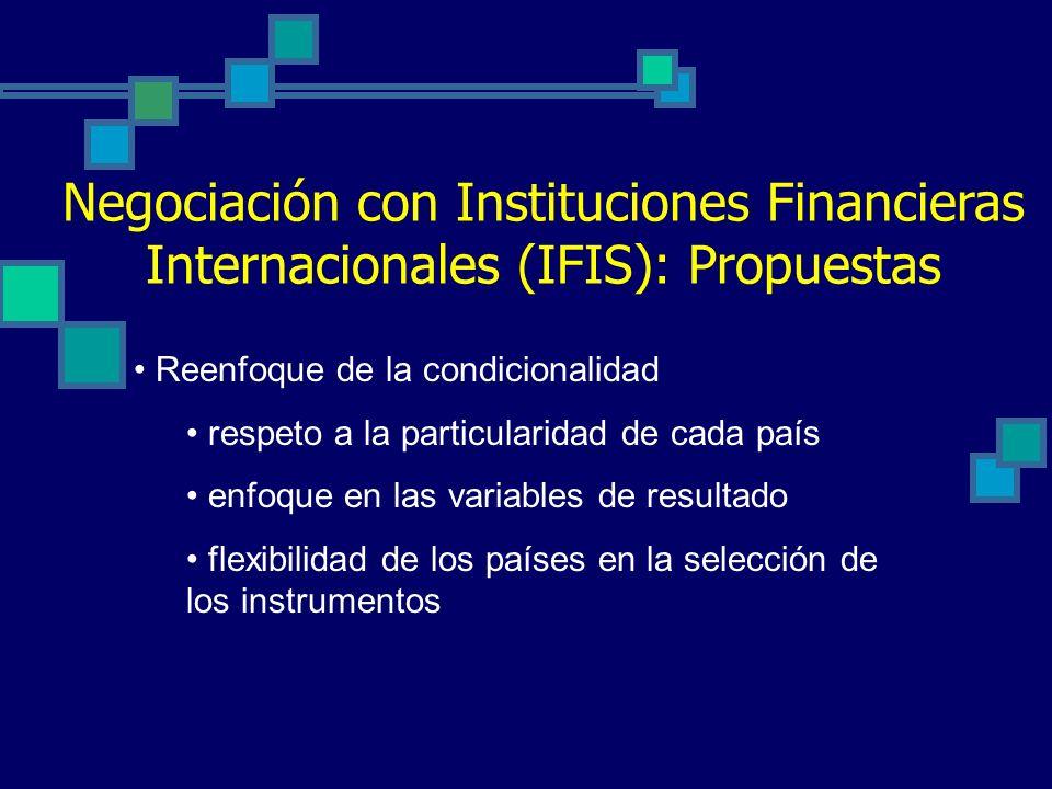 Negociación con Instituciones Financieras Internacionales (IFIS): Propuestas