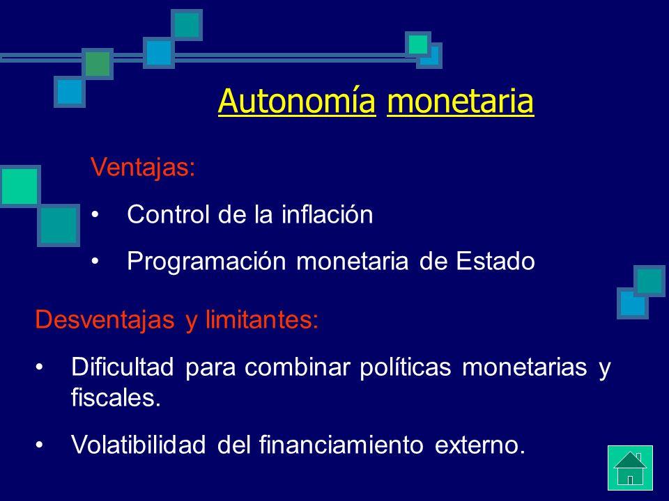 Autonomía monetaria Ventajas: Control de la inflación