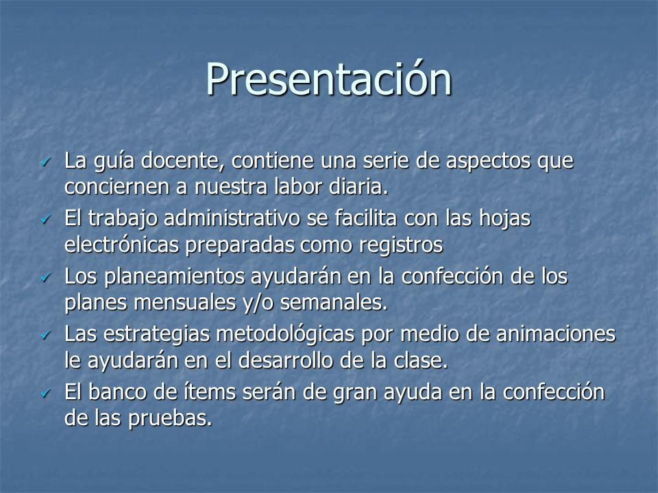 Presentación La guía docente, contiene una serie de aspectos que conciernen a nuestra labor diaria.