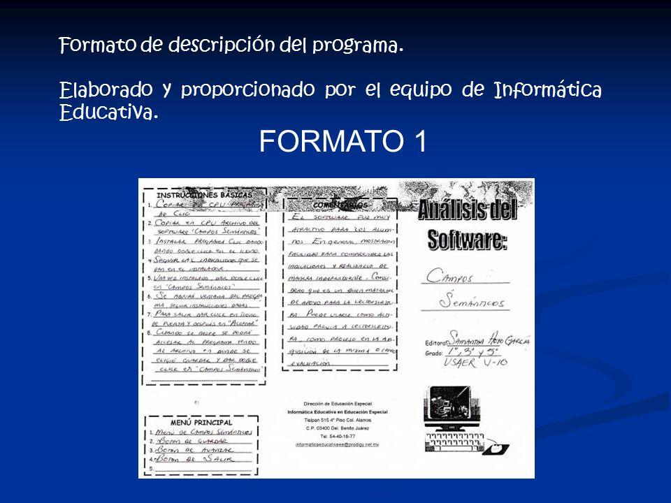 FORMATO 1 Formato de descripción del programa.