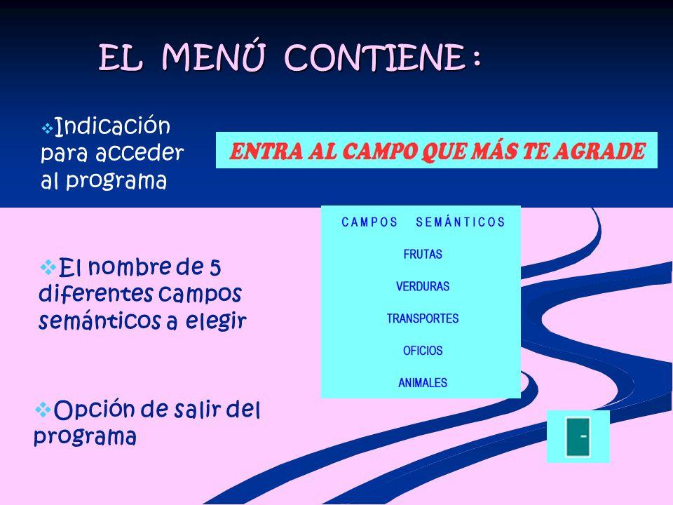 EL MENÚ CONTIENE : Indicación para acceder al programa