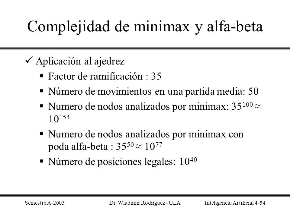 Complejidad de minimax y alfa-beta