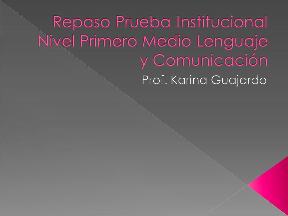Repaso Prueba Institucional Nivel Primero Medio Lenguaje y Comunicación