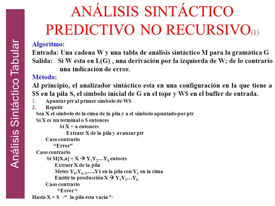ANÁLISIS SINTÁCTICO PREDICTIVO NO RECURSIVO(1)