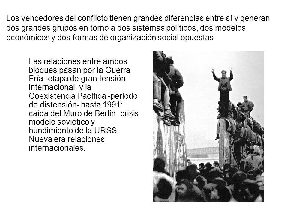 Los vencedores del conflicto tienen grandes diferencias entre sí y generan dos grandes grupos en torno a dos sistemas políticos, dos modelos económicos y dos formas de organización social opuestas.