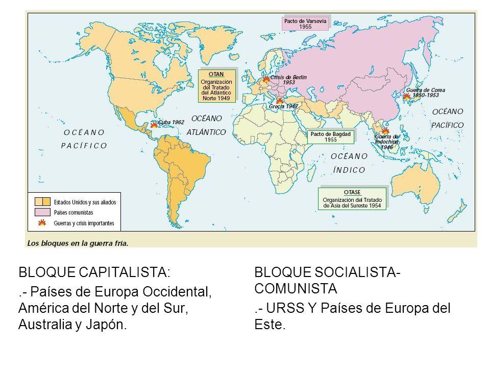 BLOQUE CAPITALISTA: .- Países de Europa Occidental, América del Norte y del Sur, Australia y Japón.