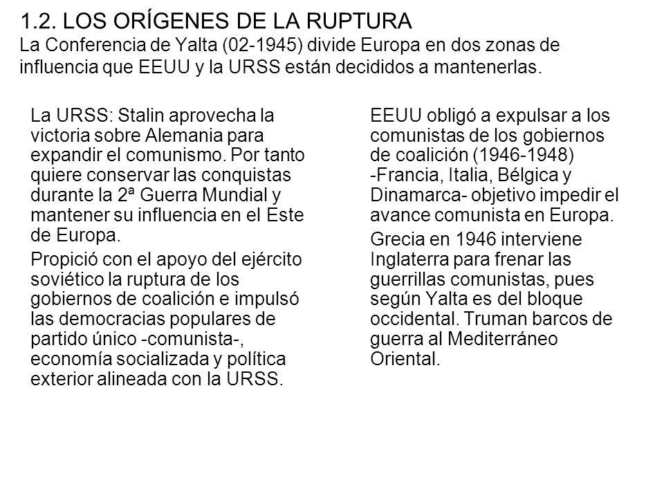 1.2. LOS ORÍGENES DE LA RUPTURA La Conferencia de Yalta (02-1945) divide Europa en dos zonas de influencia que EEUU y la URSS están decididos a mantenerlas.