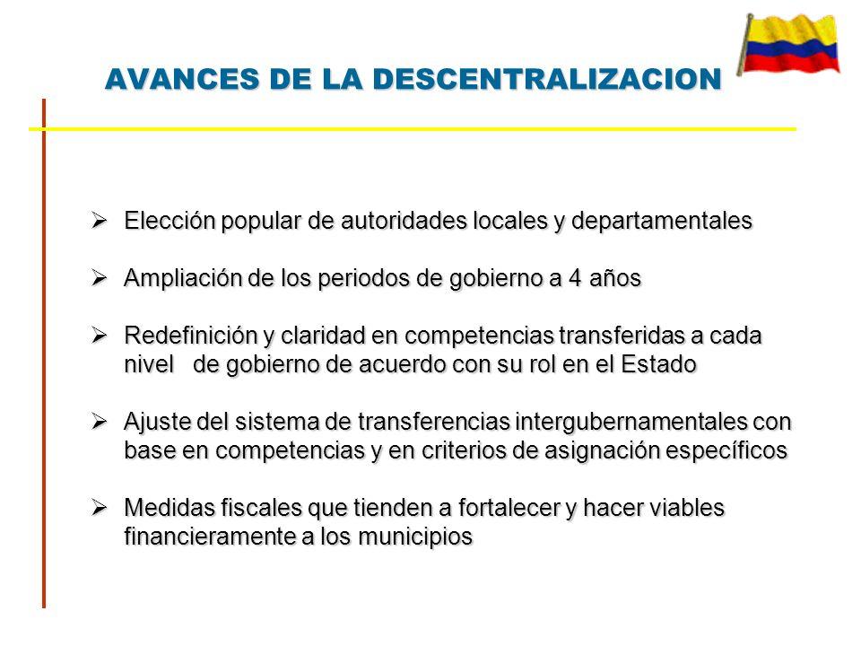 AVANCES DE LA DESCENTRALIZACION